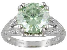 Moissanite Luisant Mint(Tm) 3.60ct Diamond Equivalent Weight Round, Platineve(Tm) Solitaire Ring