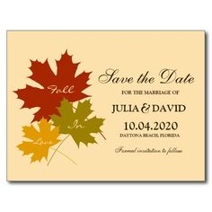 Fall In Love Wedding Save The Date Postcard