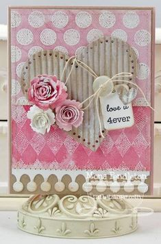 Shabby chic: Pink Love You Heart Card...