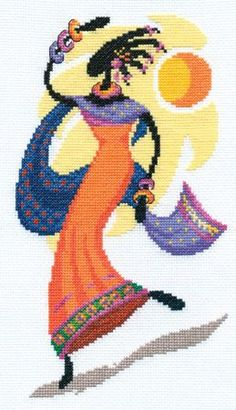 0 0 point de croix femme africaine  - cross stitch african woman