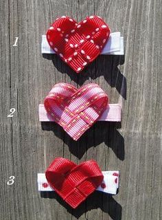 For kids Heart clips. We need heart bows! Hair Ribbons, Diy Hair Bows, Diy Bow, Bow Hair Clips, Ribbon Art, Ribbon Crafts, Ribbon Bows, Diy Ribbon, Ribbon Sculpture