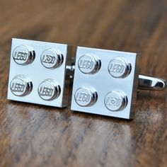 Chrome LEGO Cufflinks- LEGO Plate Cufflinks - Silver, Gold, Blue, Red and Green