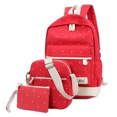 1c2dd9973f 3pcs set Canvas Printing Backpack Women School Bags for Teenage Grils  Casual Travel Bags Cute