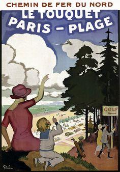 Le Touquet Paris-Plage French France Vintage Travel Beach Poster #essenzadiriviera www.varaldocosmetica.it/en
