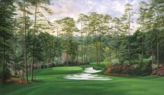 """The masters is coming soon! 10th Hole 'Camellia"""" Augusta National golf art by Linda Hartough http://www.golfcourseartwork.com/golf-prints/augusta-national-golf-course-prints/10th-hole-camellia/10th-hole-camellia-augusta-national-golf-course-print"""
