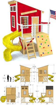 Fun outdoor playhouse plan with a loft and rock wall.