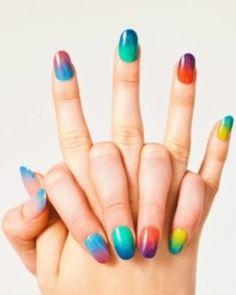 Best of Gradients.... gradient nails  ---------------------------------------- Rainbow Awesomeness!