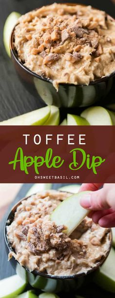 A classic, one that never gets old, toffee apple dip. Creamy dip full of brown s… A classic, one that never gets old, toffee apple dip. Creamy dip full of brown sugar and little bits of milk chocolate toffee. It's apple's best friend. Dessert Dips, Köstliche Desserts, Delicious Desserts, Appetizer Dips, Appetizer Recipes, Snack Recipes, Cooking Recipes, Snacks, Cold Dip Recipes