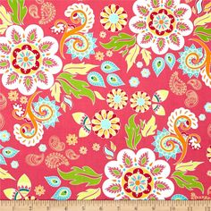 Riley Blake Madhuri Large Floral Pink by The Quilted Fish for Riley Blake $9.20/y