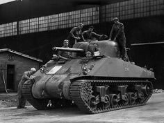 An American tank M4 Sherman in the factory in the United States.
