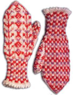 Kuopion kuviolapaset, punainen-vaalean harmaa (9384)  #mittenS:-)