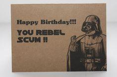 Tarjeta de cumpleaños de Darth Vader y envolvente por comradecards