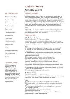 It Security Resume Security Guard Resume Sample  Sample Resume And Career Advice