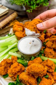 "These healthy, oil free Baked Buffalo Cauliflower Wings served with Vegan Ranch or Vegan Blue ""Cheese"" Dressing is like a flavor explosion in your mouth. Baked Buffalo Cauliflower, Cauliflower Wings, Vegan Appetizers, Appetizer Recipes, Clean Eating Recipes For Dinner, Dinner Recipes, Vegan Buffalo Sauce, Plant Based Snacks, Whole Food Recipes"