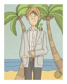 Humphrey Death in Paradise Illustration Print by CarlBatterbee