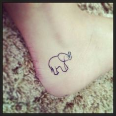 Cute Elephant Tattoo Design on Ankle