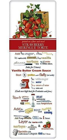Mary Lake Thompson Flour Sack Recipe Towel - Strawberry Torte Basket – For the Love Of Dogs - Shopping for a Cause Retro Recipes, Old Recipes, Vintage Recipes, Best Cooking Apps, Butter Cream Sauce, Strawberry Meringue, Recipe Scrapbook, Flour Recipes, Special Recipes