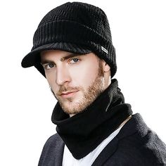 Knitted Unisex Beanies Hat For Man Winter Balaclava Snowboard Fleece Skull Peaked Cap Scarf Face Mask Wool Hat Set Mens Winter Beanies, Winter Knit Hats, Winter Hats For Men, Visor Beanie, Beanie Hats, Unisex, Peaked Cap, Hat And Scarf Sets, Hat For Man