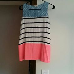 Bo Bel tank size medium Bo Bel tank size medium. Fun and cute for summer. Blue with white polka dots on top, white with black stripes in the middle, and neon pink on the bottom. Worn only a couple times. Open to offers! Bo Bel Tops Tank Tops