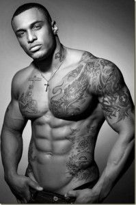 Male Tattoo Model with shoulder chest piece