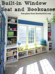 If you've been wanting to build the window seat and bookcases that you saw in Robin's Playroom you're all set. Window Seat, side base, and upper bookcase. Playroom Storage, Toy Storage, Playroom Ideas, Craft Storage, Wall Storage, Playroom Colors, Sunroom Playroom, Playroom Art, Bench Storage