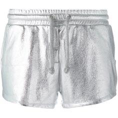 Zoe Karssen Metallic Drawstring Shorts ($120) ❤ liked on Polyvore featuring shorts, zoe karssen, drawstring shorts, draw string shorts and metallic shorts