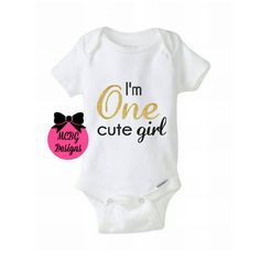 I'm one cute girl baby bodysuit or shirt, one year old glitter shirt,one year old birthday shirt,one year birthday outfit,1st birthday shirt by MCBGDesigns on Etsy https://www.etsy.com/listing/470614371/im-one-cute-girl-baby-bodysuit-or-shirt