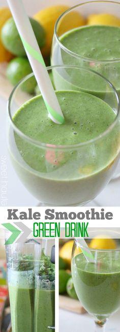 Kale smoothie green drink recipe tutorial 2 ways-SWEET HAUTE pin now...make later! #whole30 #paleo #alkalising