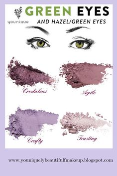 Eyeshadow Looks Eyemakeup for hazel eyes. Use purple and pink eyeshadow colors to make your hazel eyes pop. Mix and match to customize your own eyeshadow palette. Over 40 colors to choose from. Hazel Eye Makeup, Hooded Eye Makeup, Makeup For Green Eyes, Eye Makeup Tips, Smokey Eye Makeup, Skin Makeup, Smokey Eyeshadow, Eyeliner Makeup, Smoky Eye