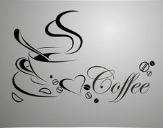 coffee cup, free shipping vinyl quote removable wall Stickers, DIY home decor wall art-in Wall Stickers from Home & Garden on Aliexpress.com