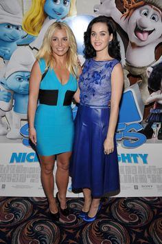 "Britney Spears and Katy Perry arrive at the premiere of ""Smurfs 2"" in Los Angeles on July 28, 2013."