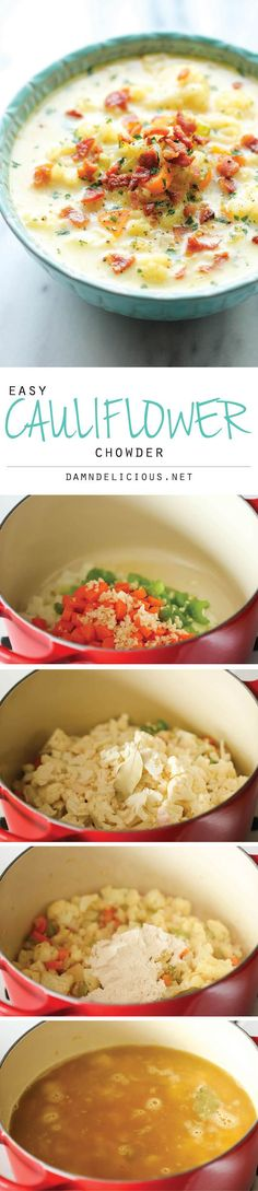 Cauliflower Chowder - A creamy, low carb, hearty and wonderfully cozy soup for…
