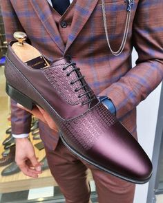 Buy Burgundy Laced Oxford by GentWith Gothic Fashion Men, Mens Boots Fashion, Leather And Lace, Classic Leather, Calf Leather, Leather Shoes, Lace Oxfords, Gentleman Shoes, Burgundy Shoes
