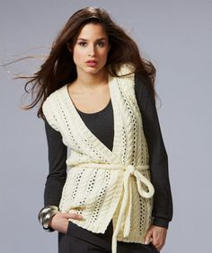 Lace and Cables Wrap Vest Knitting Pattern | Red Heart