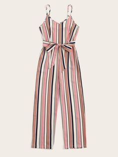 Shop Plus Striped Self Tie Cami Jumpsuit at ROMWE, discover more fashion styles online. Cute Girl Outfits, Cute Outfits For Kids, Cute Summer Outfits, Outfits For Teens, Trendy Outfits, Girls Fashion Clothes, Summer Fashion Outfits, Girl Fashion, Jumpsuit For Kids