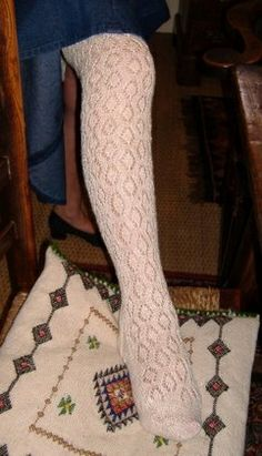 queenelizabethi'sstockings - merseyweaver Thigh High Socks, Thigh Highs, Garters And Stockings, White Tights, Lace Socks, Witch Outfit, Witches, Knitting Patterns, Sexy Women