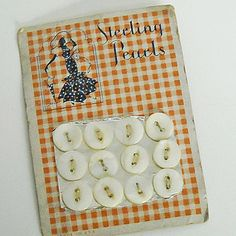 """(::)  Vintage """"Sterling Pearls"""", """"Made in U.S.A."""" red checkered button card with pearl buttons from DiaNNe's private collection. {Courtesy  DiaNNe W. - """"Vintage Button Cards (::)"""""""