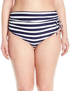 4dde9ce0b49c2 Introducing Robyn Lawley Womens PlusSize Stripes High Tie Bikini Bottom  NavyWhite 10. Grab Your Swimsuits
