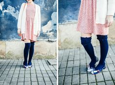 """Over the knee socks & polka dots - """"from someone in love"""" White Cardigan, Knee Socks, Spring Outfits, Kimono Top, Polka Dots, Spring Summer, Clothes, Tops, Women"""