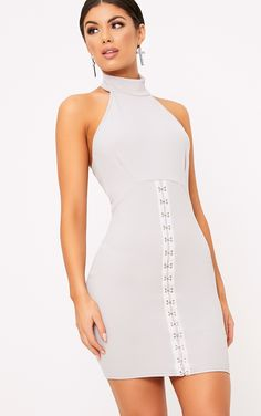 Louisa Ice Grey Halterneck Hook And Eye Detail Bodycon Dress