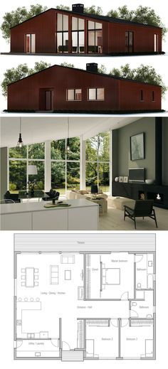 Home Plan Split master bedroom; one half a bedroom, other half is a chill room. Extend bathroom. Also make living quarters bigger. Fireplace to separate dining and living area.