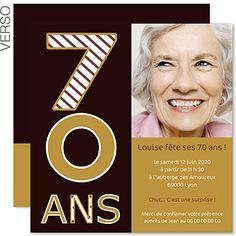 Invitation anniversaire 70 ans à personnaliser en ligne et à télécharger. Arrêtons le temps pour ...