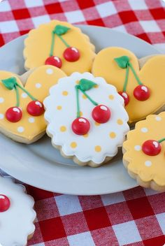 Darling decorated cookies with cherries and polka dots from Bake @ 350 #Cherries #Cookies #Bake@350