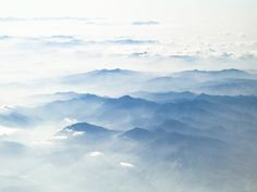 Blue Japanese mountains photograph. Misty by TomBlandPhotography