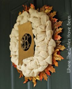 Fall Burlap Wreath via Where The Smiles Have Been. #wreath
