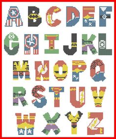 Bogo free superheroes marvel and dc alphabet cross stitch Cross Stitch Letter Patterns, Cross Stitch Letters, Beaded Cross Stitch, Cross Stitch Designs, Cross Stitch Embroidery, Cross Stitch Kids, Free Cross Stitch Charts, Beading Patterns, Embroidery Patterns