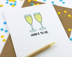 Anniversary Card - Celebration - New Home - New Job - Here's To Us by PostLoveDesigns on Etsy https://www.etsy.com/listing/190957934/anniversary-card-celebration-new-home