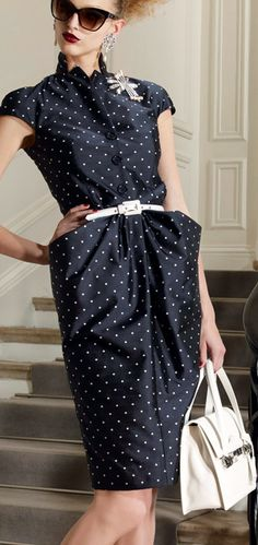 Black and White Polka Dots - Christian Dior Dress and white purse FROM: http://media-cache-ec0.pinimg.com/originals/b9/85/f0/b985f0aab5f7e44ef2536f9e0272b979.jpg