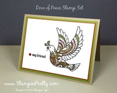 Dove of Peace stamp set and Stampin' Write Markers were used for this friendship card designed by Mary Fish, Independent Stampin' Up! Demonstrator.  Details, supply list and more card ideas on http://stampinpretty.com/2015/09/dove-of-peace-card-for-a-friend.html