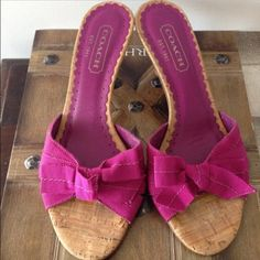 """Coach Sandals Size 36.5/6.5 Coach Sandals Size 36.5/6.5. Color Magenta. Condition Excellent. Heel 2"""" Made in Italy. No box. Coach Shoes Sandals"""